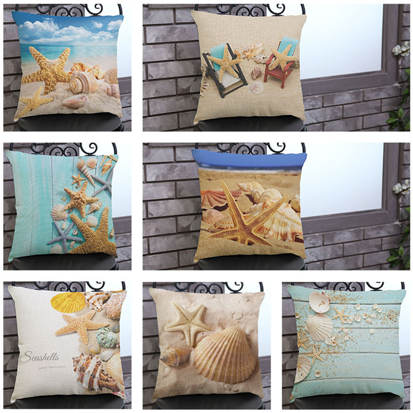 Sredozemno more Plaža Stil morske zvijezde Cushion Covers Pillowcase Ukrasni jastučnica 45x45cm Home Decor