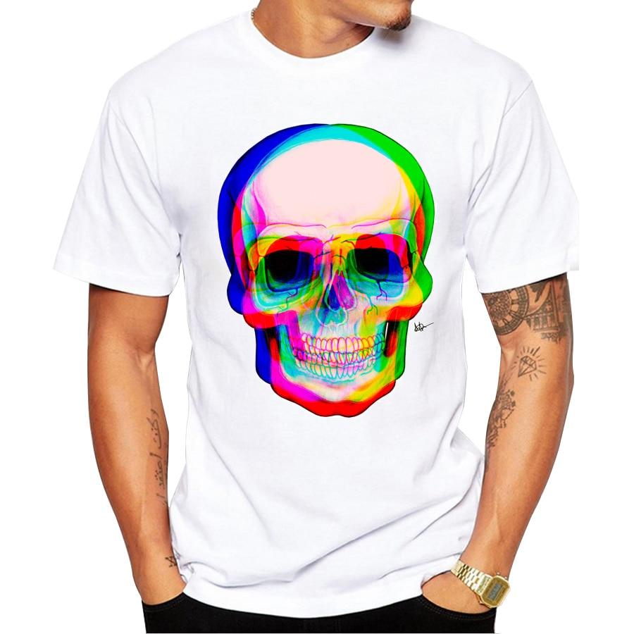 La moda más nueva imprimió el diseño del cráneo 3D 2019 hombres del verano manga corta camiseta de la marca de ropa cómoda camiseta de los hombres