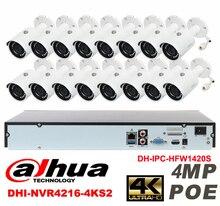 Dahua original 16CH 4MP H2.64 DH-IPC-HFW1420S 16pcs bullet Waterproof camera POE DAHUA DHI-NVR4216-4KS2 IP security camera kit