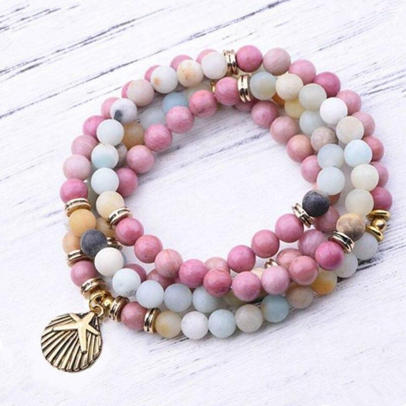 DIEZI Buddhistischen Reiki Multicolor Amazonit Shell Charm Armband Natürliche Stein 108 Mala Perlen Armband Halskette Für Frauen