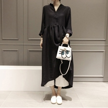 Новая Корейская версия женского платья с длинным рукавом средней длины Мори женское Свободное платье с узором из листьев J2019020039