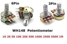 5 pièces WH148 Potentiomètre 3Pin 6pin B1K B2K B5K B10K B20K B50K B100K B250K B500K B1M Arbre Amplificateur Double Stéréo 1/2/5/10/K 15mm