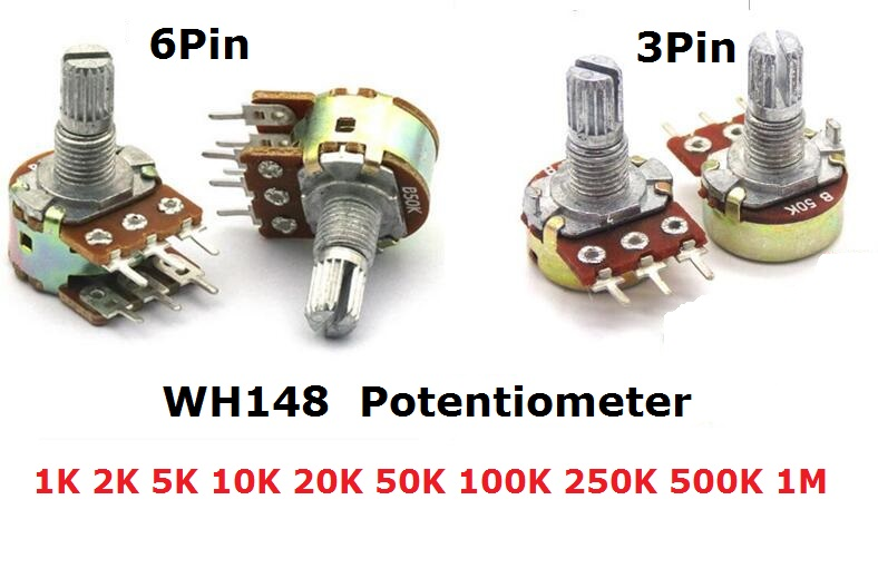 5PCS WH148 Potentiometer 3Pin 6pin B1K B2K B5K B10K B20K B50K B100K B250K B500K B1M Shaft Amplifier Dual Stereo 1/2/5/10/K 15mm