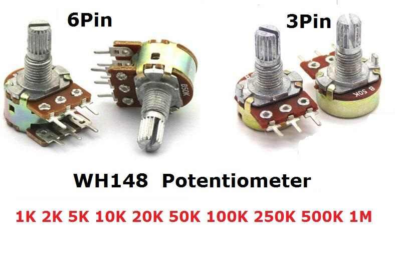 5PCS WH148 Potenziometro 3Pin 6pin B1K B2K B5K B10K B20K B50K B100K B250K B500K B1M Albero Amplificatore Dual Stereo 1/2/5/10/K 15 millimetri