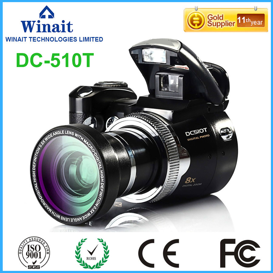 Freeshipping Winait DC-510T Telescopic lens 16mp dslr camera/Video Camera With 8X Digital Zoom 32GB Memory Card Mini Camera