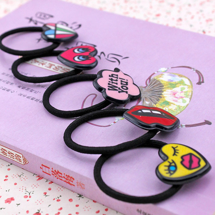 South Korea's graffiti hair bands Acrylic hair accessories 2015 new, free home delivery grid pattern pu leather case w view window key button for iphone 6 plus black