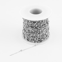 1.2mm Width Women Thin Necklace Stainless Steel Chain Rolo Spacer Ball Chain for Jewelry Making Sell in 1 Meters No Clasp(China)