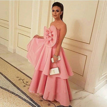 Neue Ankunft Große Blume Organza Rosa Trägerlosen Abendkleid 2016 Formal Abendkleid Nahen Osten Stil Saudi Dame Party Kleid