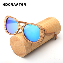 HDCRAFTER New Fashion Men's Polarized Sun Glasses Bamboo Fashion Brand Design With Reflective Mirror for men and women