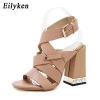 50e661c6f Eilyken 2019 Summer Ankle Strap Women Sandals Thick High Heels Buckle Strap  Gladiator Sandals Women Pump. Eilyken 2019 Verão com Tira No Tornozelo  Mulheres ...