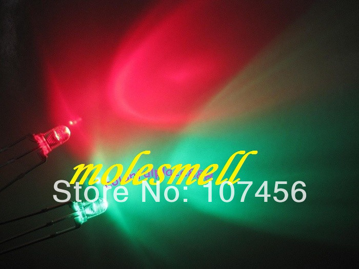 3mm Dual Bi-Color Red//Green Diffused Bright 3-Pin Led Common Cathode Led 100pcs