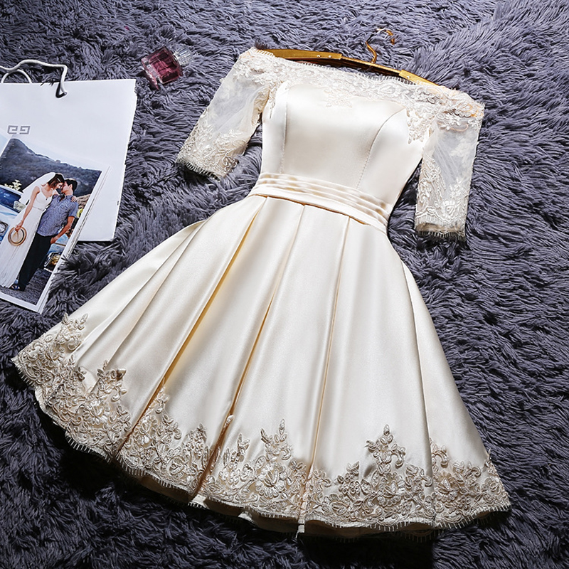 DongCMY Short 2019 Champange Color Prom Dresses Elegant Vestidos Party Satin Half Sleeve Gown