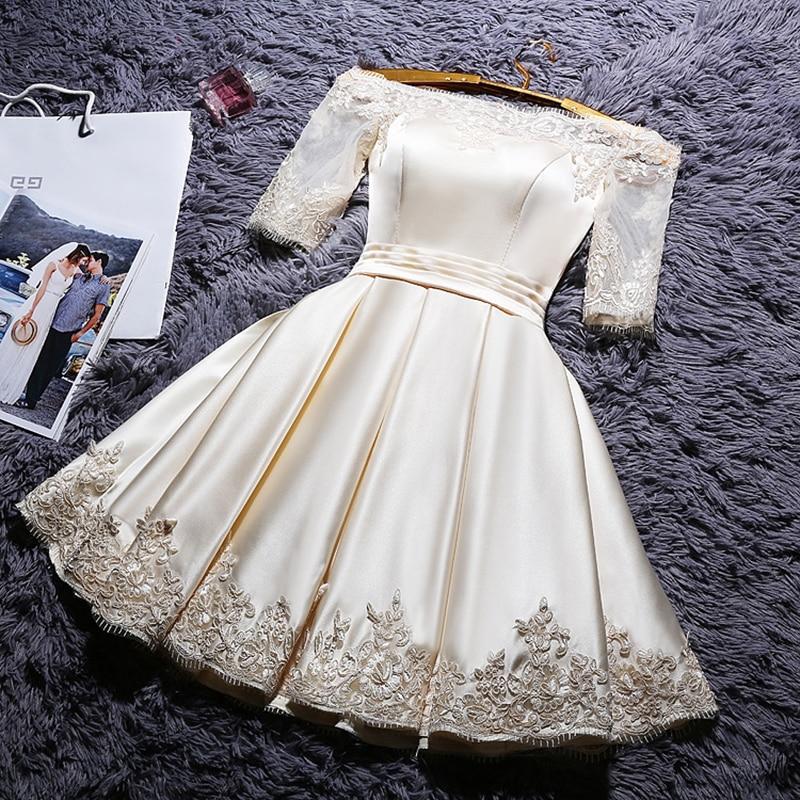 DongCMY Short 2020 Champange Color Prom Dresses Elegant Vestidos Party Satin Half Sleeve Gown