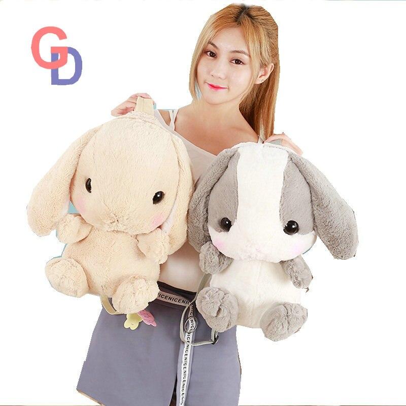 цена 2017 Cute Little Rabbit Shoulder Bag, Plush Big Rabbit backpack, Cartoon long ear rabbit backpack