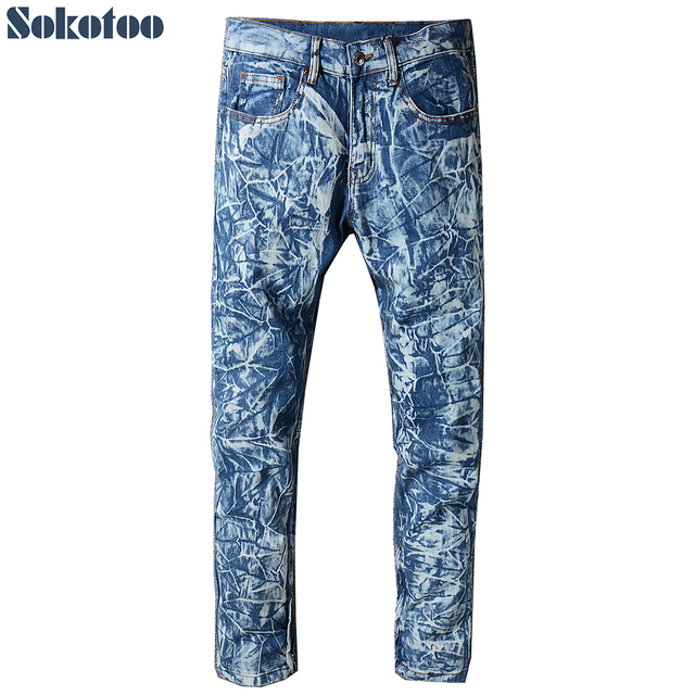 Sokotoo Men's blue snow wahsed denim jeans Plus size slim straight bottom zipper pants