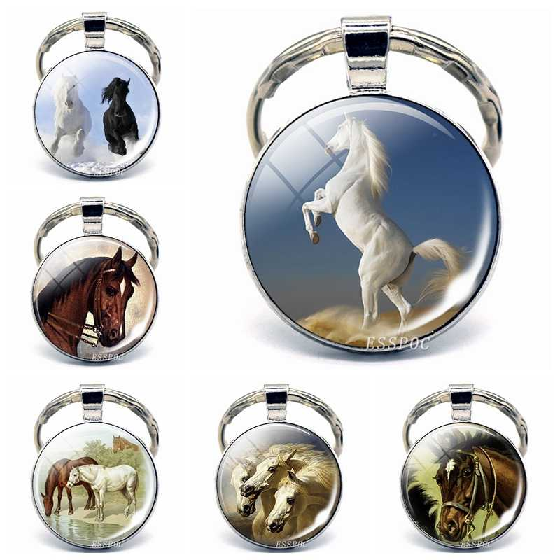 Horse Series Glass Cabochon Keychain Metal Keyring Car Key Chain Fashion Accessories for Men Women Valentines Gift Horse Lovers