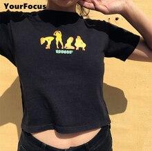 3d51424bc8a65e summer 2018 unif style harajuku punk American streetwear t shirt 4 dancers  print cropped tight short