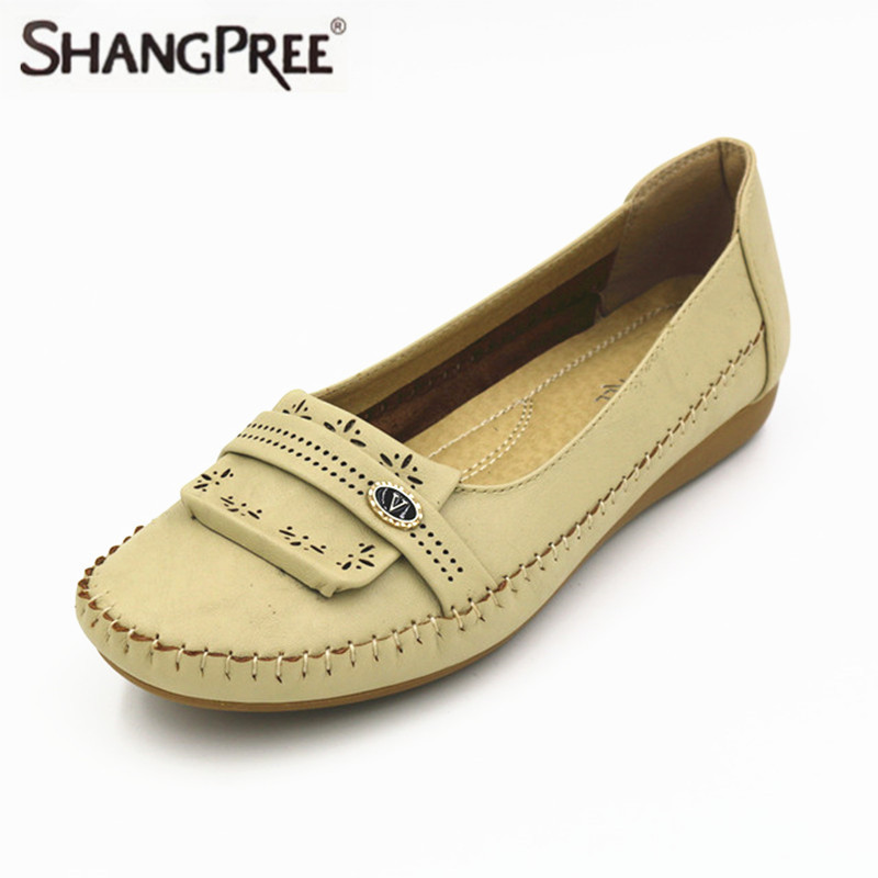 2017 Summer New Women Fashion Leather Nurse Teacher Flats Moccasins Comfortable Woman Shoes Cut-outs Leisure Flat Woman Casual S 2017 autumn fashion real leather women flats moccasins comfortable summer ladies shoes cut outs loafers woman casual shoes st181