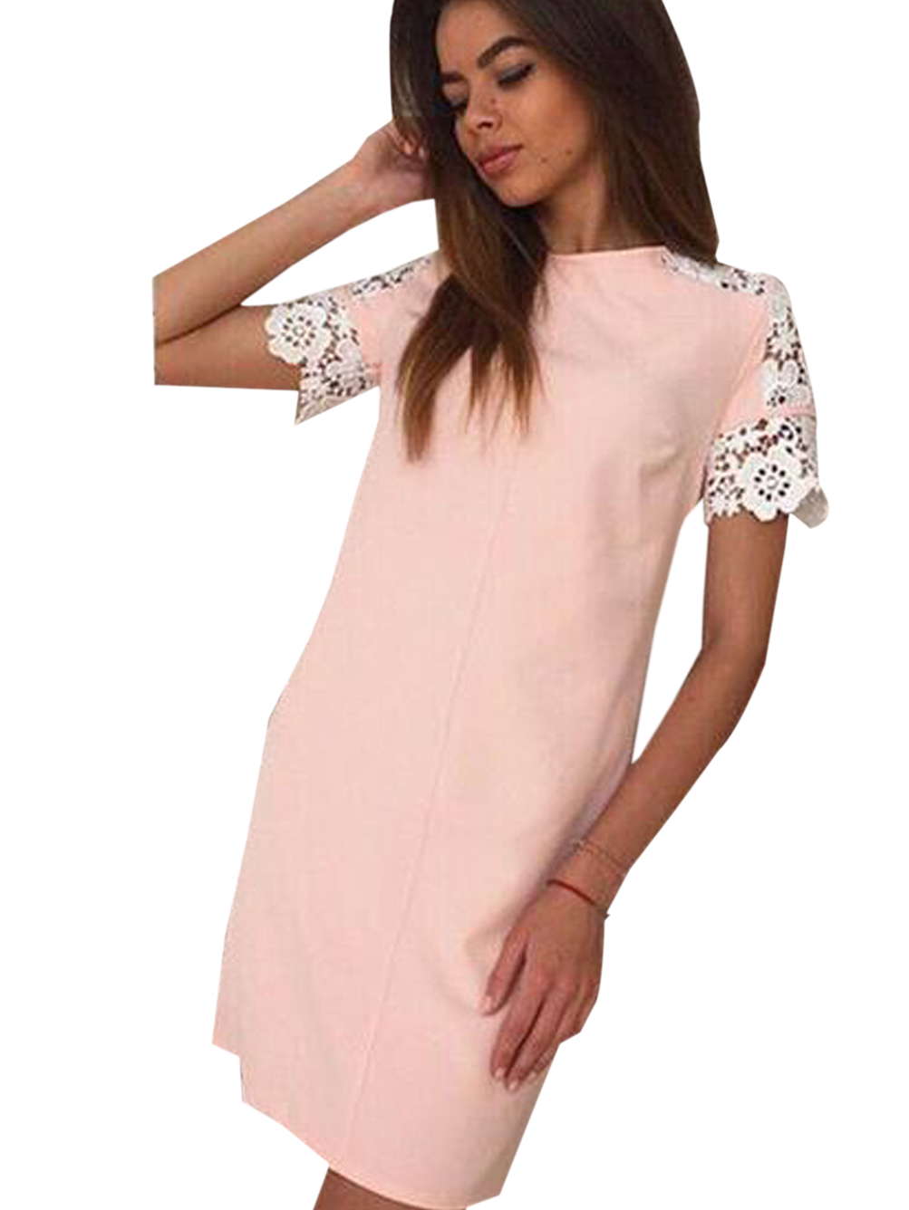 Lace Hollow Out Short Sleeves Pink Dress Casual Mini Solid ...