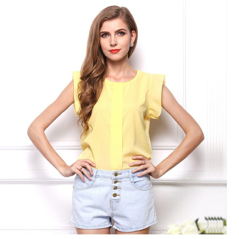 2020 Solid color Women Chiffon Tops Blouses Summer Style Clothes