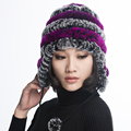 URSFUR Women's Rex Rabbit Fur Hats with Ear flap & stripe Flexible Winter  Beanies Cap with Pom Poms Earflap Skull Caps