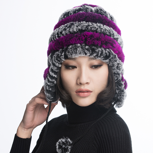 43998523aa2 URSFUR Women s Rex Rabbit Fur Hats with Ear flap   stripe Flexible Winter  Beanies Cap with