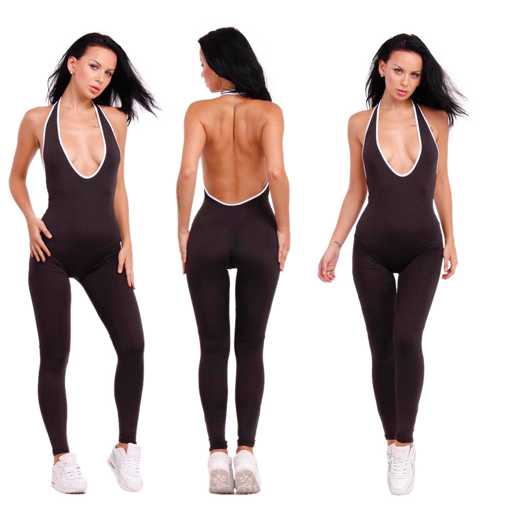 2019 New Brand Halter Sleeveless Striped Jumpsuit Sexy Backless Women Fitness Jumpsuit Deep Lady V neck Romper Club wear in Jumpsuits from Women 39 s Clothing