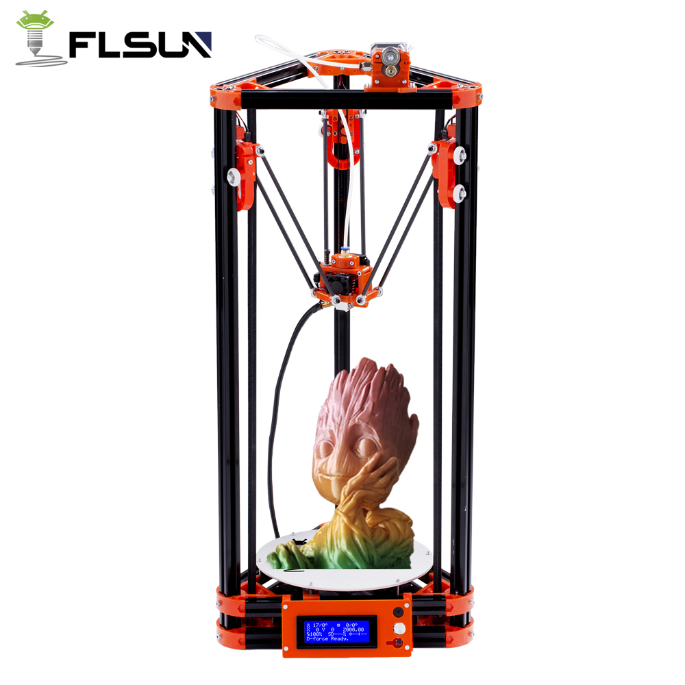 FLSUN Delta 3D Imprimante DIY KIT Poulie Kossel Auto-nivellement Chaleur lit Filament Impression Taille 180*180 * 315mm Joueur Novice