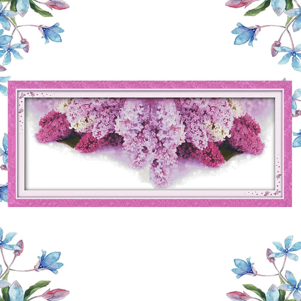 NKF цветочный язык сиреневого узора вышивка крестиком наборы для вышивки крестиком Китайский Набор для вышивки крестиком