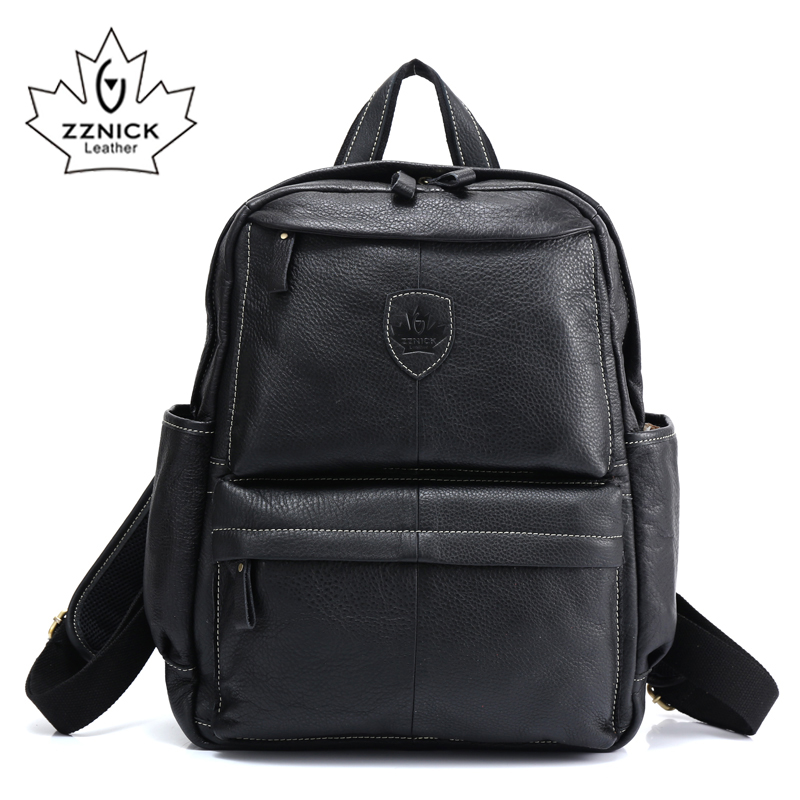ZZNICK 2017 Genuine Leather Backpack School Backpack Travel Backpack Male Fashion Backpack Schoolbag Cow Leather BLACK