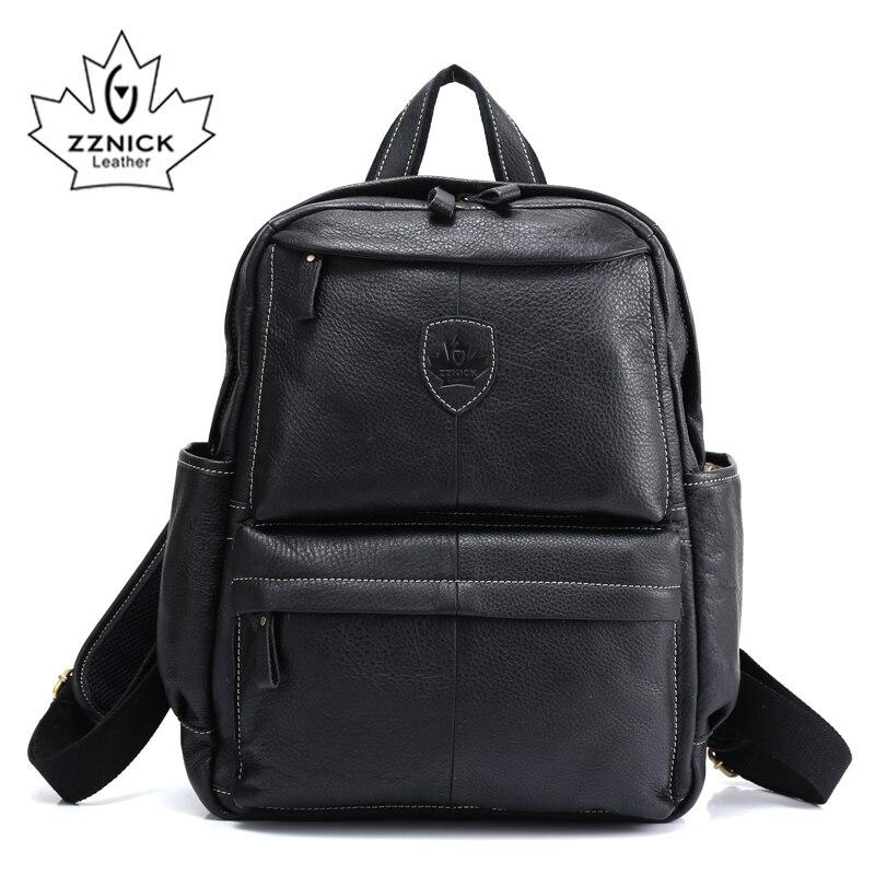 ZZNICK 2017 جلد طبيعي على ظهره حقيبة المدرسة حقيبة السفر الذكور الأزياء المدرسية على ظهره جلد البقر الأسود-في حقائب الظهر من حقائب وأمتعة على  مجموعة 1