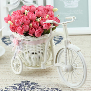 Image 4 - Rattan Bike Vase with Silk flowers Colorful Mini Rose flower Bouquet Daisy Artificial Flores For Home Wedding Decoration
