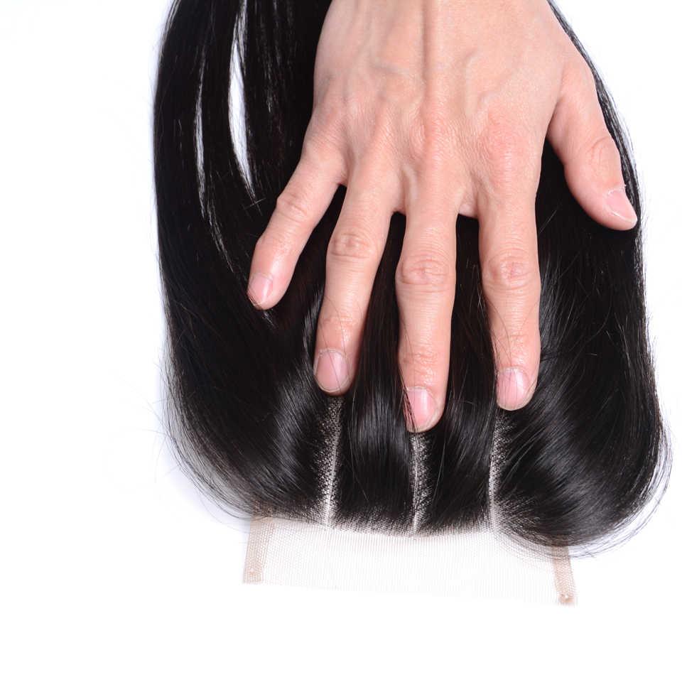 Lanqi волосы перуанские объемные волнистые кружева Закрытие свободный Средний три части не Реми человеческие волосы швейцарское кружево 4*4 верхнее закрытие 120% плотность