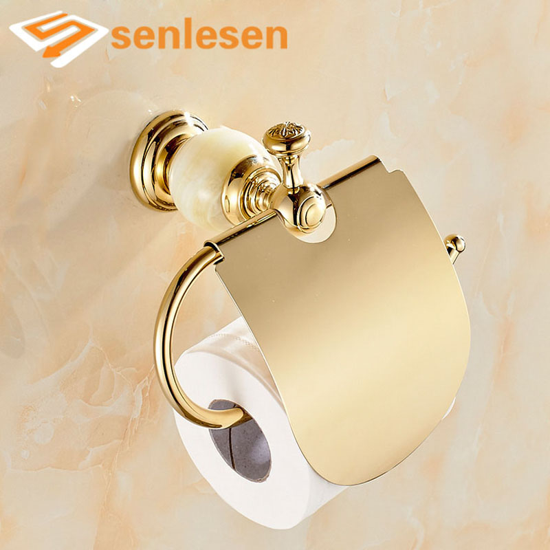 Wholesale And Retail Free Shipping Modern Marble Style Bathroom Paper Holder Golden Brass W/ Cover Solid Brass Tissue Bar Holder free shipping wholesale and retail marble