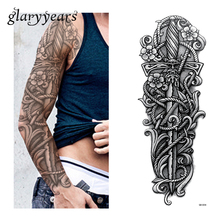 1 Sheet Big Large Full Arm Tattoo Sticker Unisex Body Art Sword Flower Pattern Waterproof Temporary Tattoo Sticker Decal QB-3038