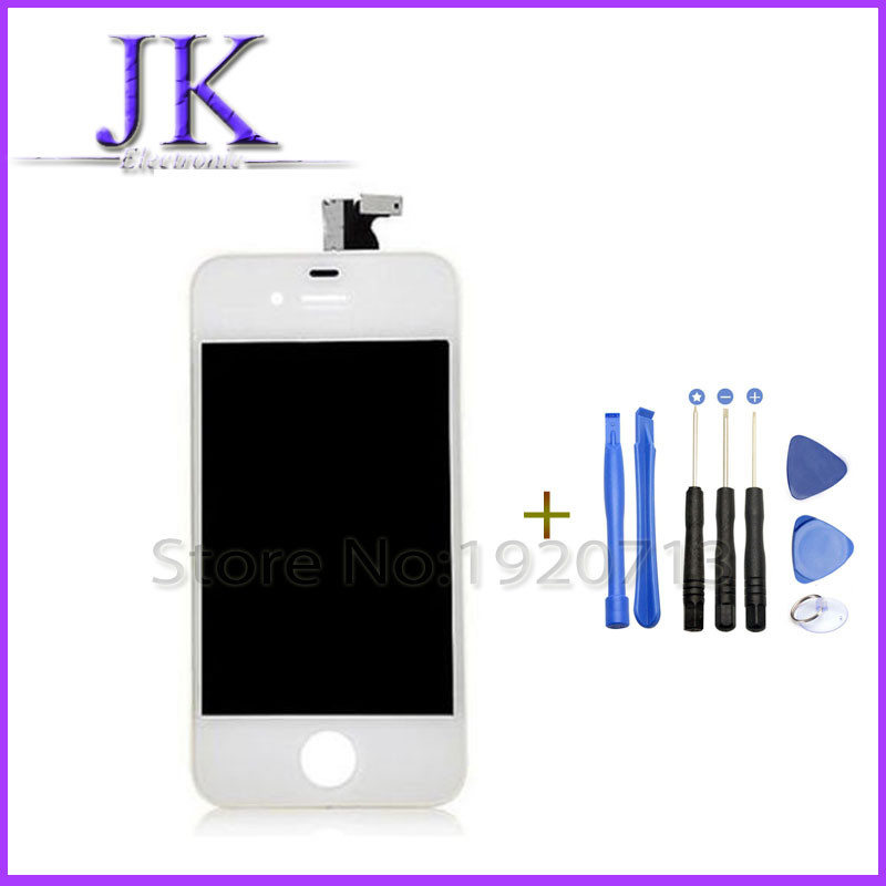 1pcs White black LCD Display Screen Touch Digitizer Assembly For iPhone 4 i4 Replacement Outer Touch Panel Screen Case + Tools black white lcd touch screen lens display digitizer assembly replacement for iphone 4 4g gsm cdma