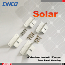 Aluminum roof Solar mounting bracket install 50w 100w 150w 250w 300w mono poly solar panel with aluminum bracket and screw