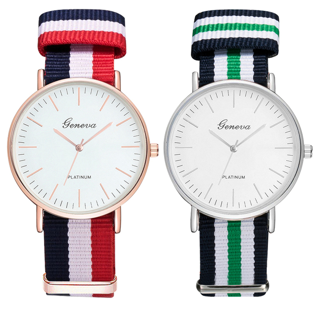 Brand Luxury Men Watches Casual Sports Canvas Strap Clock Fashion Woman Watch Co