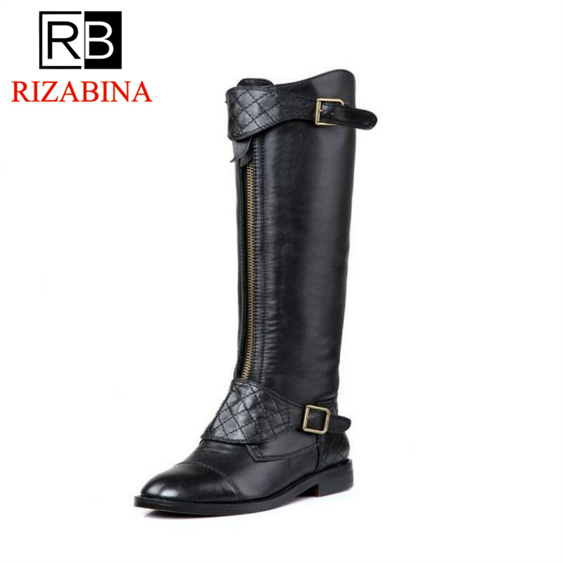 RizaBina Free shipping over knee long boots natural real genuine leather boots women boot high heel shoes R5468  EUR size 34-39