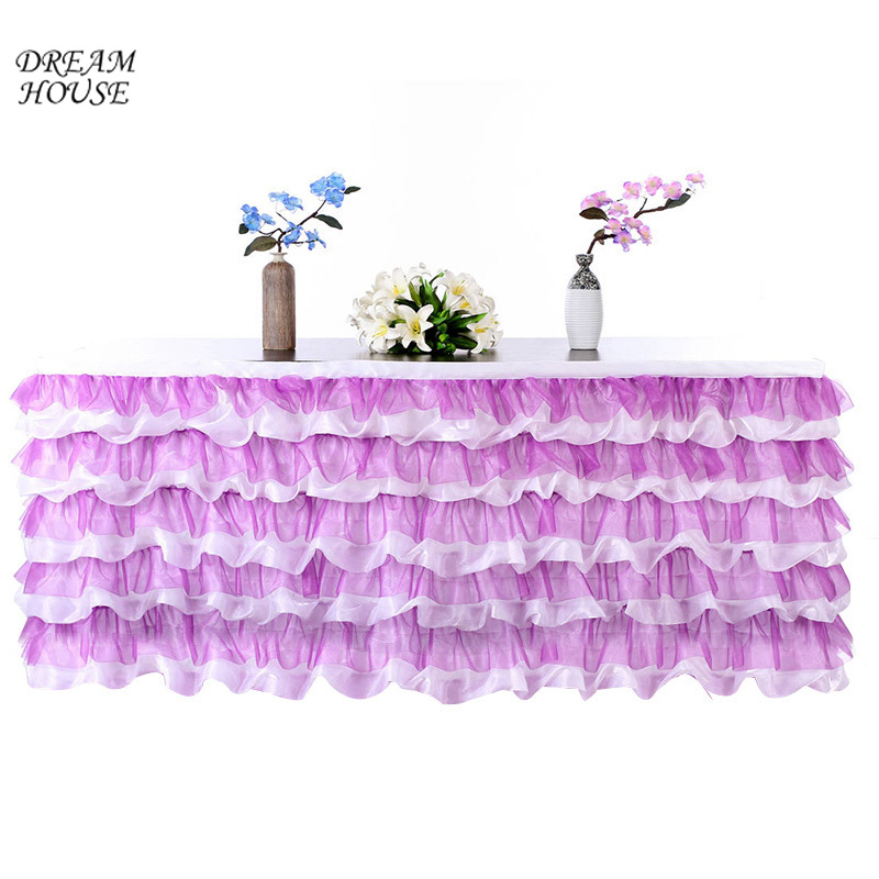Tulle Table Skirt Baby Shower Birthday Banquet Tablecloth Wedding Table Skirting Decoration Party Supplies 275x80cm