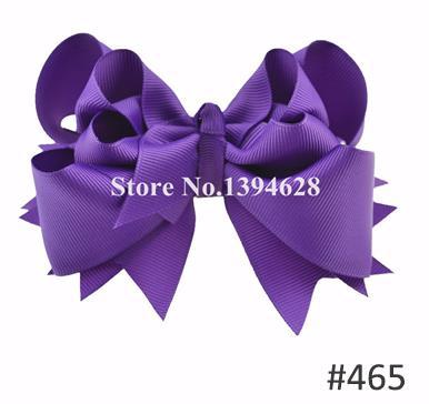Твои банты 1 шт. 5 дюймов для девочек Однотонные бантики для волос Заколки для волос с бантом из ленты на каблуке высотой заколки для волос для детей Головные уборы Fastion женские аксессуары для волос - Цвет: 465purple
