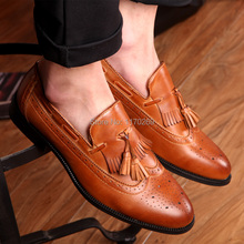 2016 new classic pointed toe tassels men oxfords shoes fashion carve PU leather men's brogue shoes black white brown size 38-43