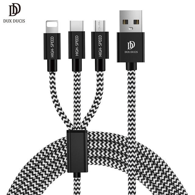 DUX DUCIS 3 in 1 USB Cable Universal 3in1 Charging Cable for iPhone 8 7 6 Android Micro USB Cable USB Type C Mobile Phone Cables
