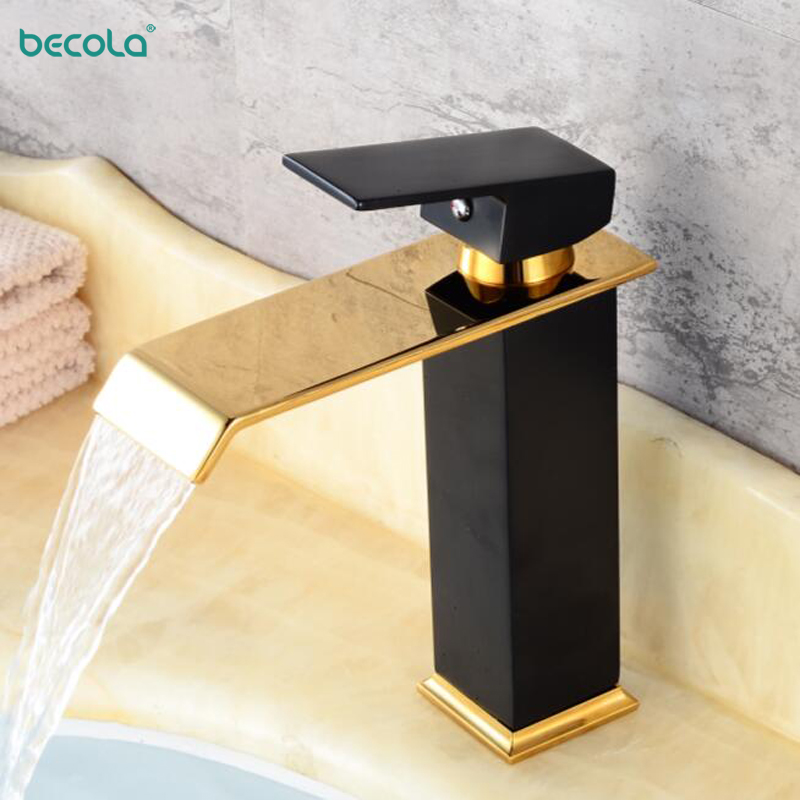 BECOLA Waterfall Faucet White Bathroom Faucet Basin Mixer Tap Basin Faucet Black Bathroom Basin Sink Faucet Torneira B-2018001