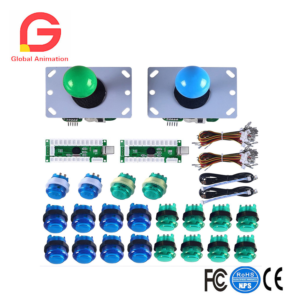 2Player Arcade Kit for PC Games and Raspberry Pi with Zero Delay USB Encoder,8 Way Joystick and LED Illuminated Button for Mame