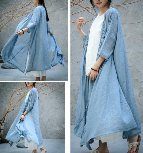 Womens Full Length Cotton Linen Casual Coats Cardigan Robe V Neck Outwear Loose   Trench