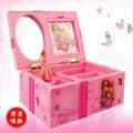 Caja de música para chica de ensueño caja de joyería Musical para niños rectángulo con bailarina Rosa Alicia en el país de las Maravillas caja de joyería