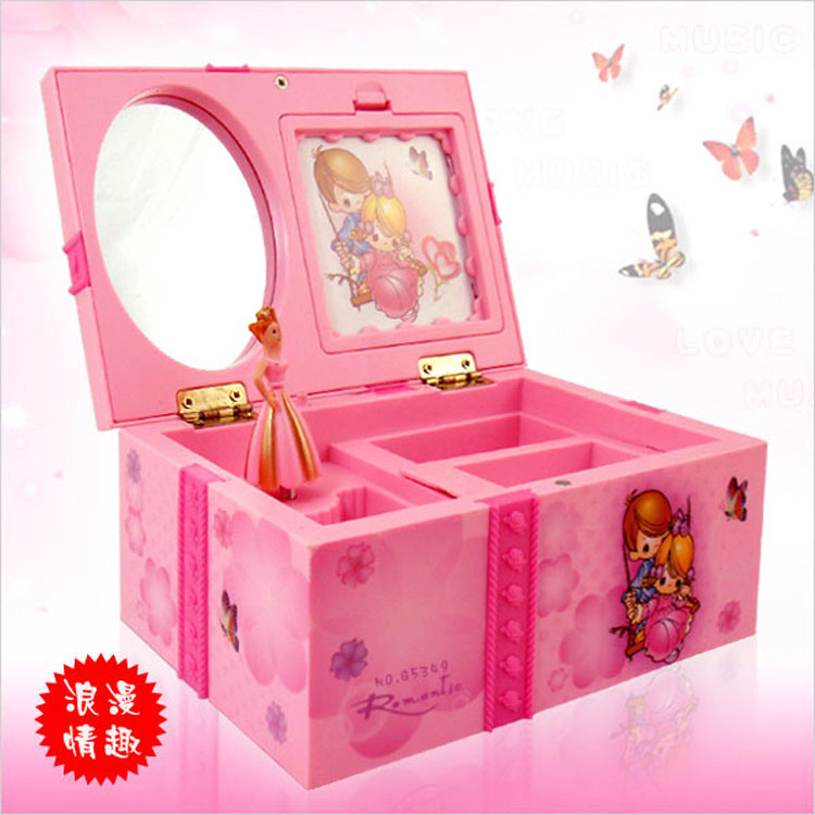 Dream Girl Music Box Childrens Musical Jewellery Box Rectangle med Pink Ballerina Alice i Wonderland Musikkboks smykker boks