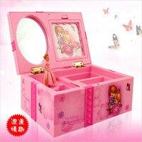 Sueño caja de música chica Childrens Musical joyero rectángulo con Pink Ballerina Alice en de las maravillas joyas caja de música