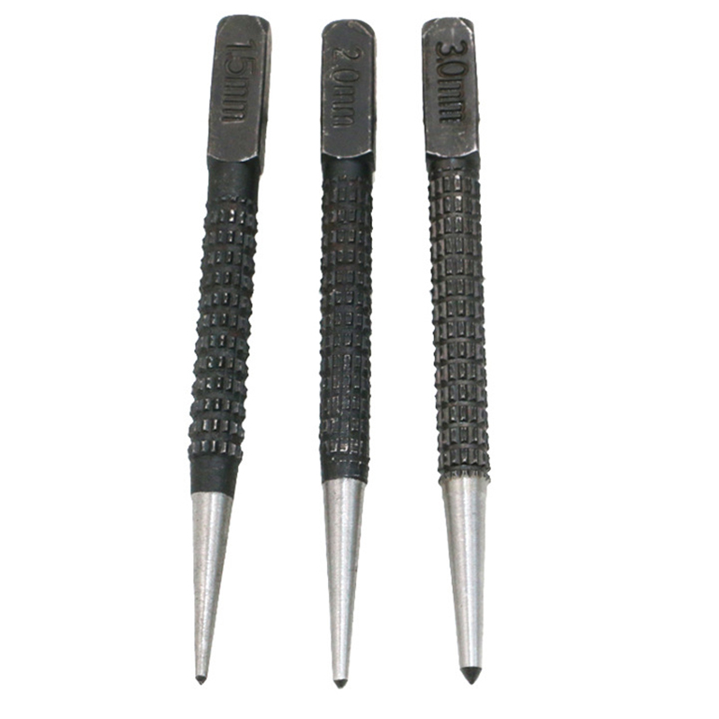 3pcs/set Non Slip Center Punch Alloy Steel 3/32